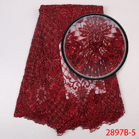 2019 High Quality African Wine Lace Fabric with French Mesh Beaded Lace Fabric with Sequins for Asoebi Party AMY2897B 1