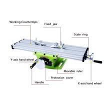 Мини многофункциональный настольный тиски приспособление сверлильный фрезерный станок комбинированный стол Регулировка Рабочий стол три Т-образные канавки