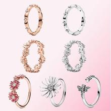 100% 925 Sterling Silver Ring Rose Pink Daisy Flower Trio With Crystal Rings For Women Wedding Party Gift Fashion Jewelry flower jewelry set pink rose jewelry enamel rings earrings pendant 925 sterling silver party fashion for women accessories