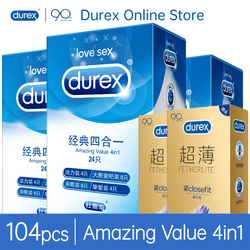 Durex Condom 32/56/100pcs/Pack Mix 4Types Lubricated Ultra Thin Natural Latex Rubber Condoms Sex Toys For Men Safe Contraction
