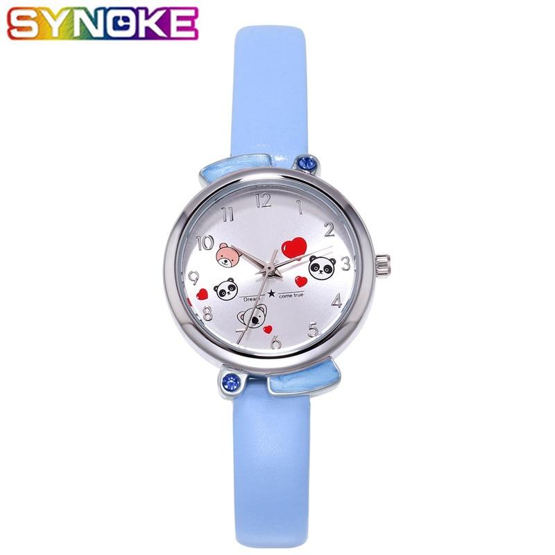 SYNOKE Candy Color Kids Quartz Watches Colorful Fashion Cute Pretty Animal Children Leather Wrist Watch Boys Girls Clock
