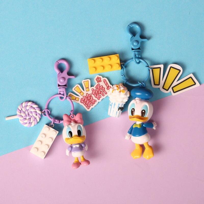 Cute Cartoon Donald Duck Key Chain Daisy Doll Keychains Pendant Women Car Fashion Accessories Children's Building Blocks Keyring