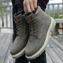Мужские ботинки из искусственной кожи, Зимняя Теплая мужская повседневная обувь, модные уличные удобные ботильоны с высоким берцем, мужска...