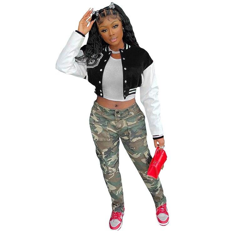 Hbf6ff03e6c5c4e4bab577f0a93d8fd01J Baseball Jackets for Women 2021 Autumn Letter Print Color Patchwork Cropped Long Sleeve Loose Short Bomber Jacket