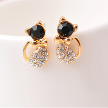 fashion new products full of diamond temperament cute cartoon bow kitten Earrings super cute kitten ear accessories pair of cute kitten earrings for women