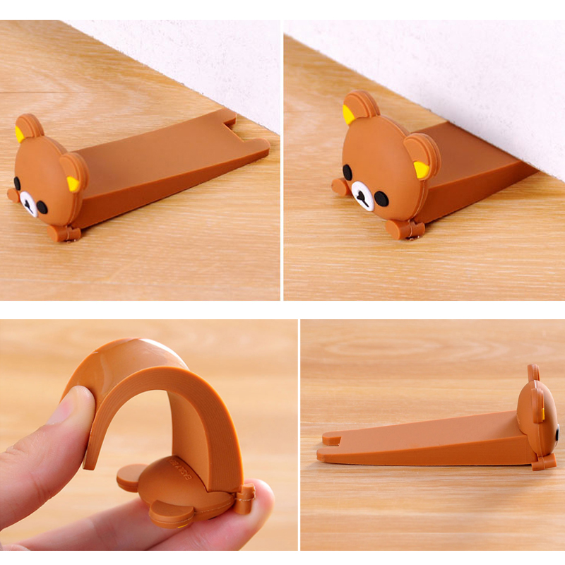 Baby Satefy Door Stopper Finger Protection Corner Guards Cartoon Children Door Stoppers Holder Silicone Mouse Shape