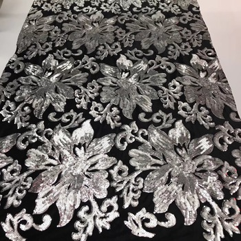 French Lace Fabric High Class African Laces Fabric Double Organza With Sequins Embroidery For Sewing Beauty Women Dress J1945