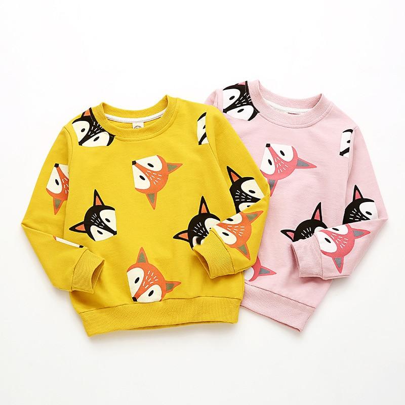 2019 Brand Kid Baby Girl 2T-6T Sweatshirt Cute Animal Print Winter Autumn Girls Tops Long Sleeve Hoodies Toddler Cotton Clothes