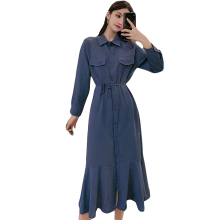 New Autumn Women dress Long Tail In Dresses Blue Black Caramel Color 8164