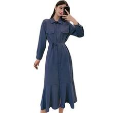 New Autumn Women dress Long Tail In Dresses Blue Black Caramel Color 8164