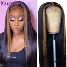 Perruque Lace Front Wig brésilienne Remy, cheveux naturels lisses, noir naturel, avec reflets, brun Blond, 13x4, 4x4, Closure, 180%