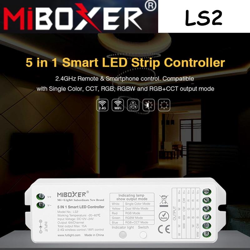 Miboxer LS2 5 IN 1 Smart LED Strip Controller 2.4Hz Remote & Smartphone Control Compotible CCT, RGB,RGBW,RGB+CCT LED Strip Light