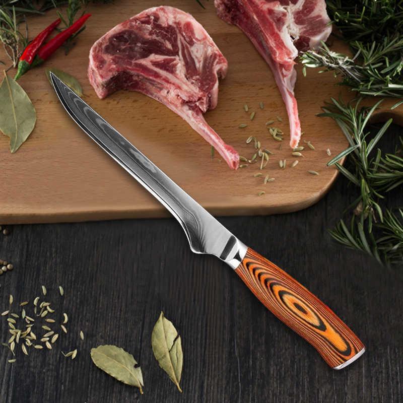 """Nóż kuchenny Damascus wzór laserowy rzeźnik mięso nóż do trybowania 6 """"ryby filetowanie warzywa owoce nóż szefa kuchni 440C ze stali nierdzewnej"""