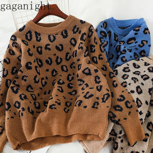 Gaganight Knitted Sweaters Pullover Female Loose Jumper Long-Sleeve Leopard Chic Autumn Winter