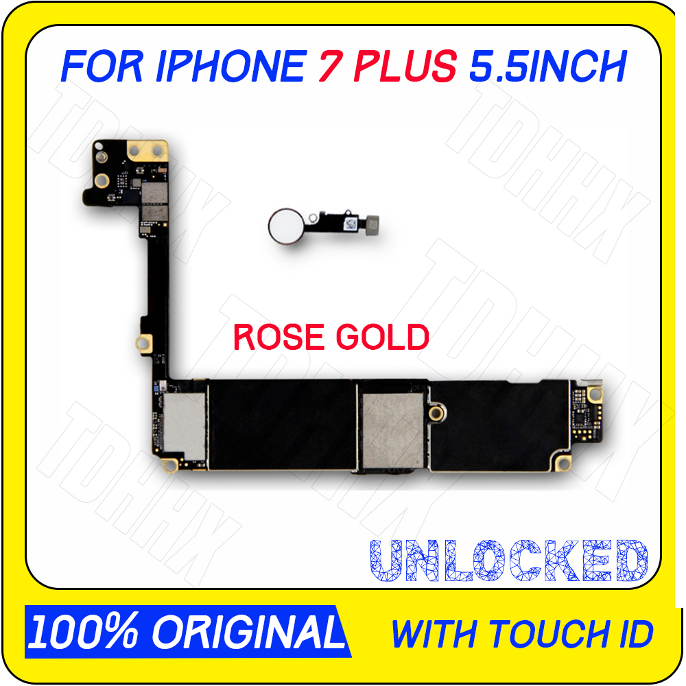 Clean iCloud Original unlocked 32/128/256G for iphone 7 Plus Motherboard Rose Gold with Touch ID for iphone 7 plus logic boards