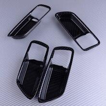 DWCX 4pcs Carbon Fiber Style Black ABS Inner Inter