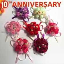 OLLYMURS Flor de muñeca broche de simulación de boda tela dama de honor hermana Flor de mano 8cm accesorios de boda