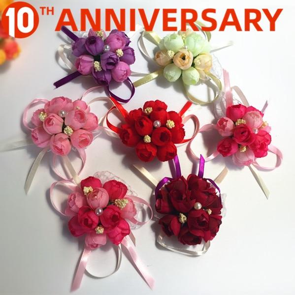 OLLYMURS Wrist Flower Wedding Simulation Brooch Fabric Bridesmaid Sister Hand Flower 8cm Wedding Accessories