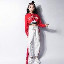 Jazz Dance Costumes Hip Hop Kids Long Sleeve Hooded Top Vest Pants Girls Hiphop