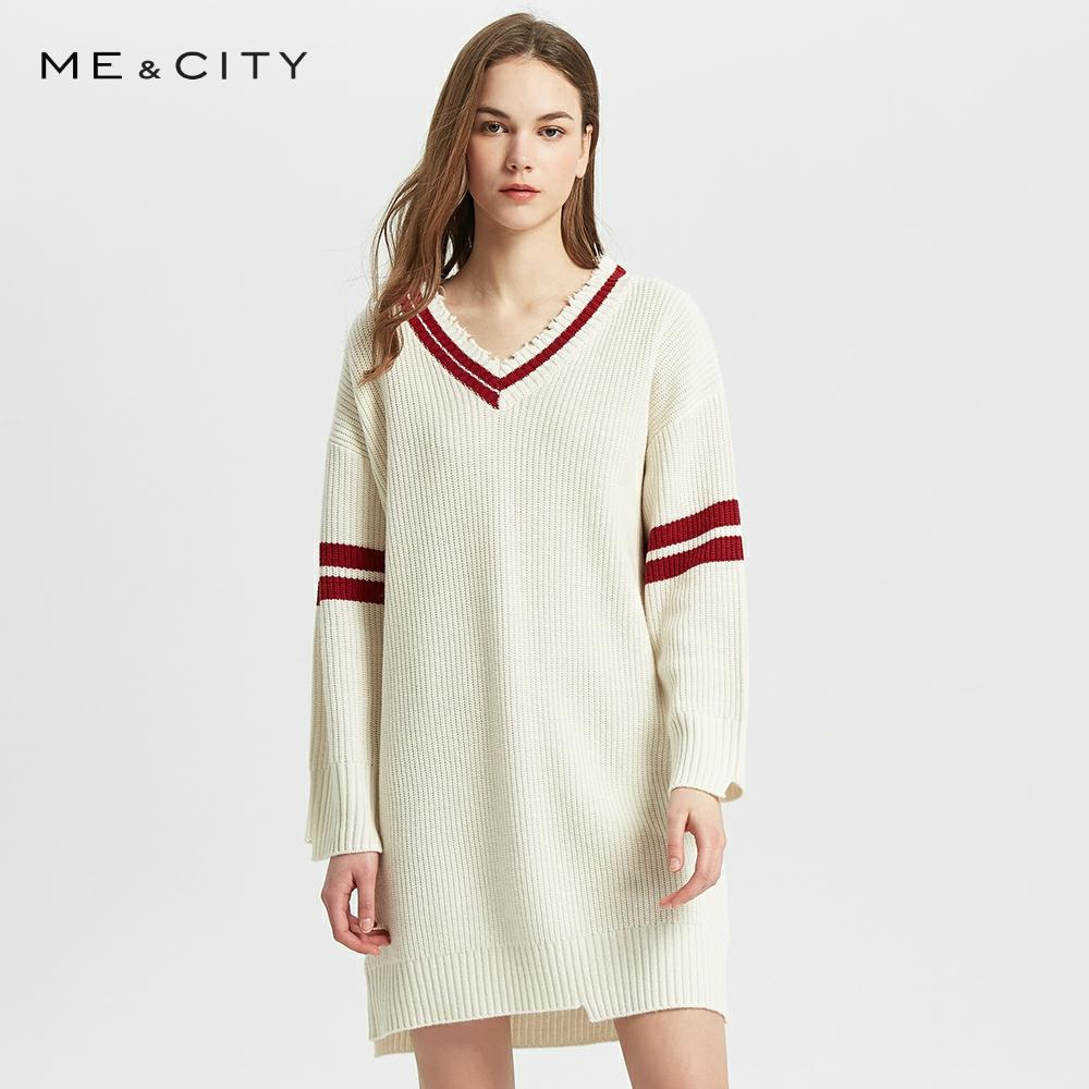 Me&City Spring New Dress Elegant Fashion V-neck Mid-length Stitching Irregular Neckline Wool Knit Dress Office Lady Dress