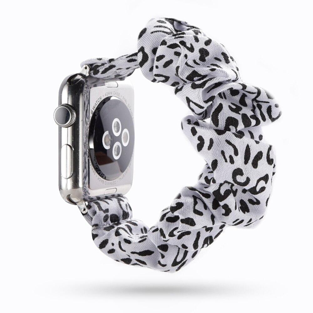 Artículo de promoción limitada en tiempo real, pulsera elástica de leopardo Scrunchie, correa de reloj para Apple Watch, Correa 38mm 40mm 42mm 44mm Pulsera para mi Band 4 3 correa de muñeca de Metal sin tornillos de acero inoxidable para Xiaomi mi Band 4 3 pulseras de correa pulseira mi banda 4 3