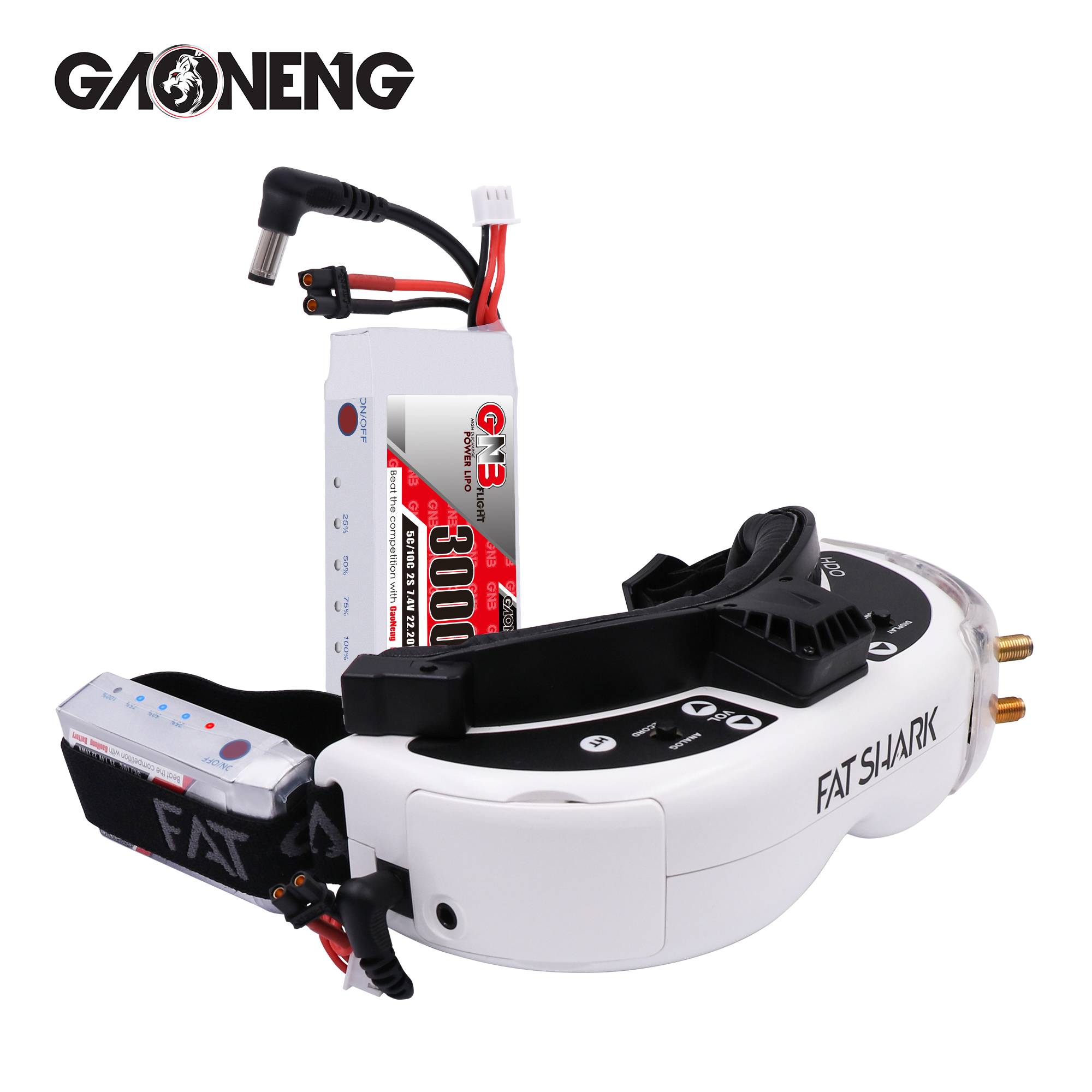 Gaoneng GNB <font><b>3000MAH</b></font> <font><b>2S</b></font> 5C <font><b>Lipo</b></font> Battery Power Indicator for Fatshark glasses Dominator Skyzone Aomway FPV Goggles RC Drone image