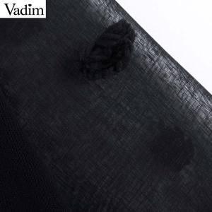 Image 5 - Vadim kadınlar şık patchwork örme kazak şeffaf eklenmiş uzun kollu kürk topu decoate kazak sıkı üstleri HA455