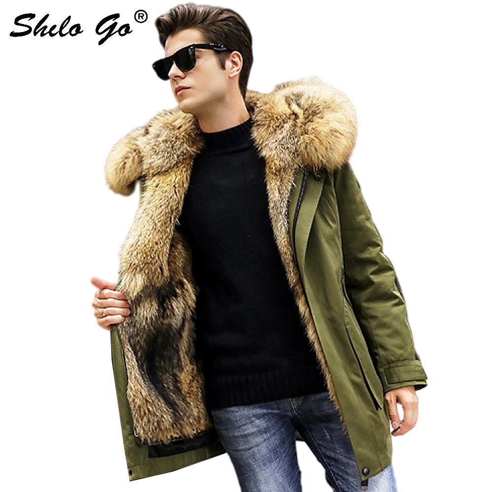 Fur Coat Safari Style Real Raccoon Fur Collar And Plocket Thick Warm Rabbit Fur Lining Hooded Coat Men Winter Casual Outwear