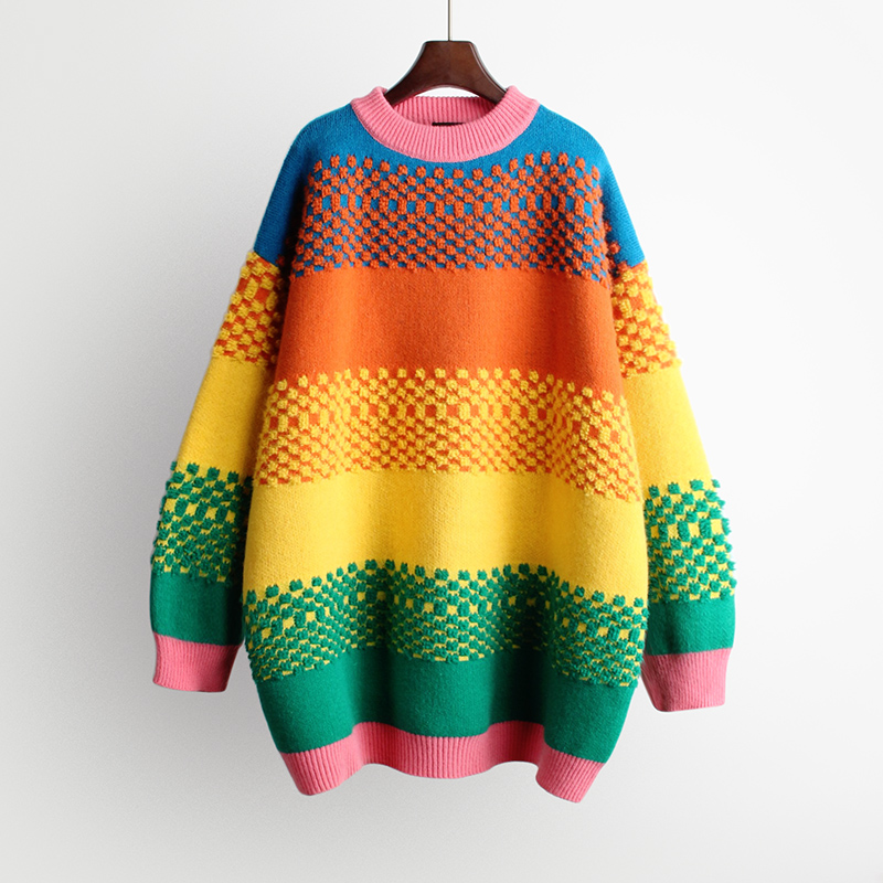 Rainbow Colorful Oversized Knitted Pullover  1