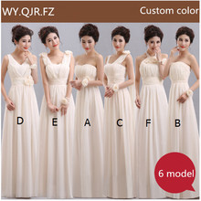 QNZL70X#V neck Lace Up Chiffon Purple Champagne Pink Blue Bridesmaid Dresses Long Wholesale Free Custom Wedding Party Dress Girl