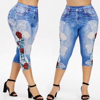 Elastic Waist Leggings Women Plus size Imitation Jeans Summer Floral Print Trousers Pencil Pants Calf Length Skinny Jeggings D30