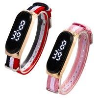 Reloj Digital de nailon colorido para Mujer, pulsera electrónica Rectangular, esfera de aleación, regalos para niñas