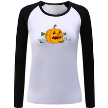 Happy Halloween Evil Pumpkin Lantern T-shirt Punk Double Ax Womens Ladies Printing Graphic Tee Long Sleeve Cotton Present