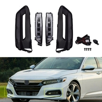 2Pcs Auto Front Fog Lights Bumper Driving Lamps Cover Grille Bezel Harness Switch Kits for Honda Accord 2018 2019