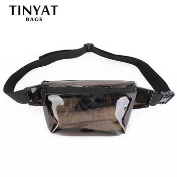 TINYAT Summer Women Waist Bag PVC Black Waist Bag Waterproof Jelly Belt Bag For Girl Walk Bag Black Casual Fanny Pack