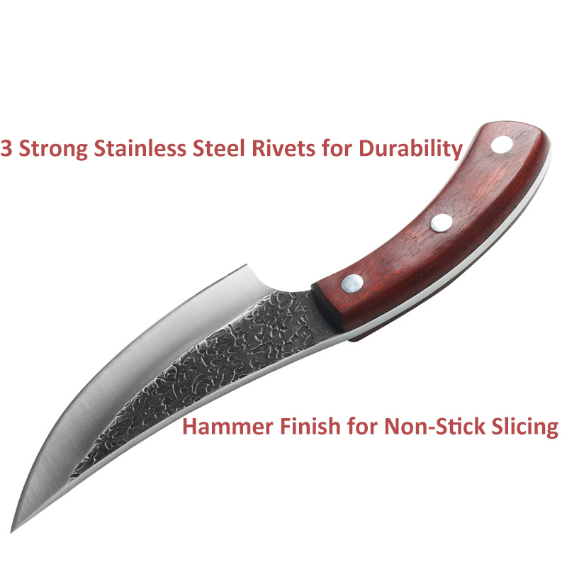 High Carbon Steel Forged Boning Knife Chef Knife Butcher Slicing Knife Outdoor Hunting EDC With Leather Sheath Machete Cuisine
