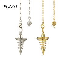 Reiki Metal Pendulum Amulet Spiral Cone Spring Pyramid for Dowsing Healing Point Divination meditation Pendule