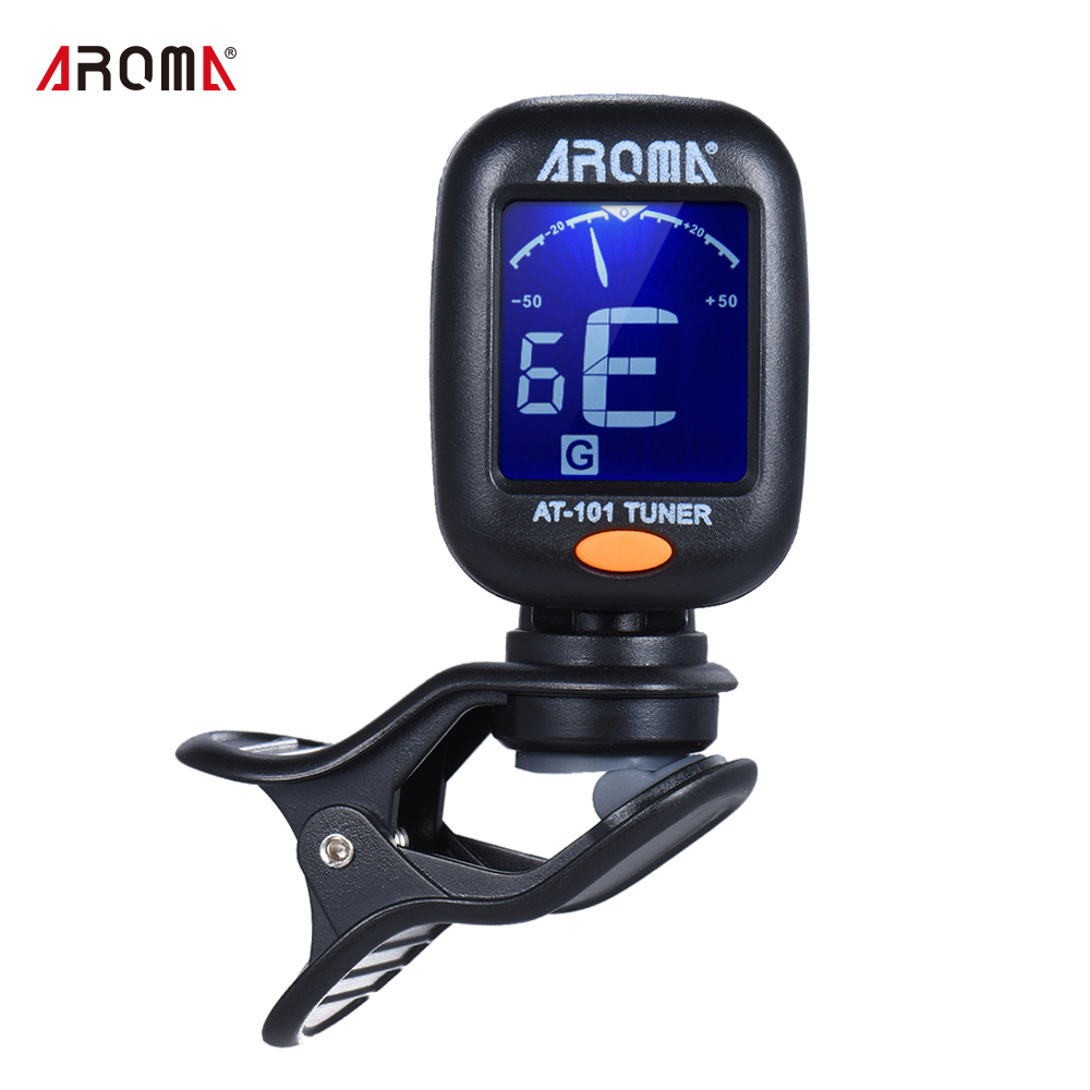 AROMA AT-101 Portable Mini Clip-on Digital Tuner with Foldable Rotating Clip for Chromatic Guitar Bass Violin Ukulele