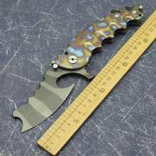 Steel-Blade Titanium-Alloy-Handle Survival-Pocket-F Tiger-Pattern Hunting Outdoor Camping