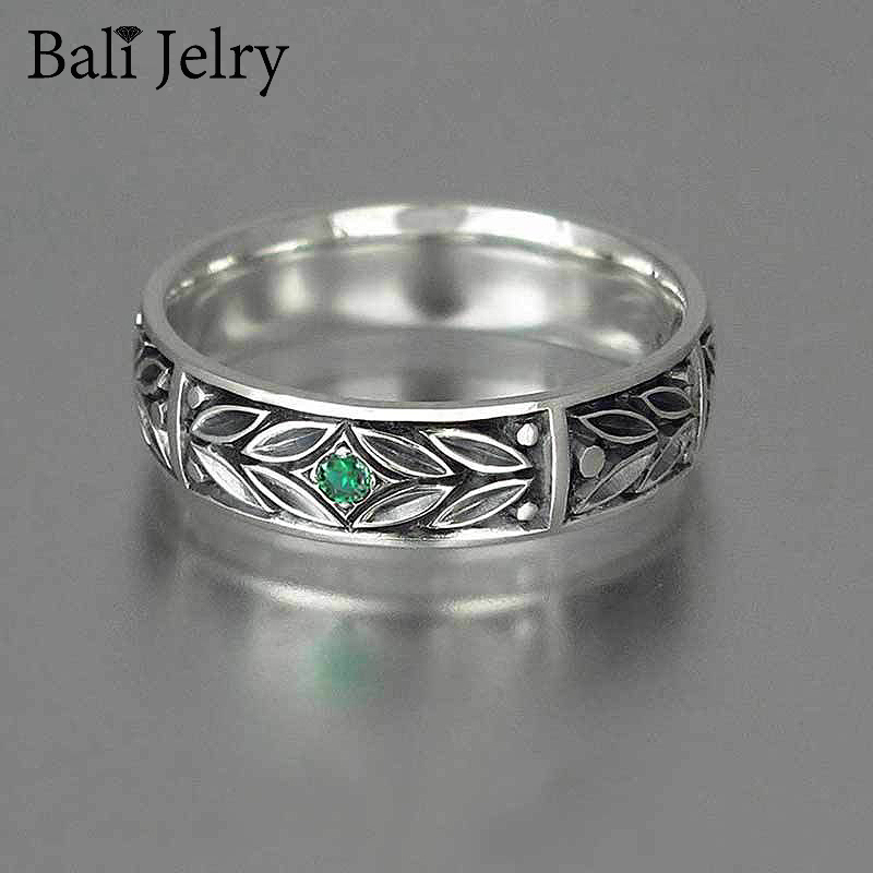 Bali Jelry Retro 925 Silver Women Men Ring Jewelry with Emerald Gemstone Accessories for Wedding Engagement Rings Drop shipping