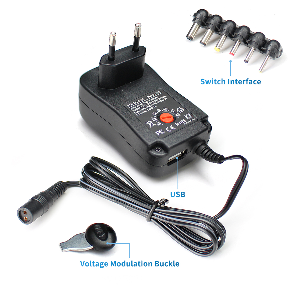12V Power <font><b>Adapter</b></font> 3V 4.5V 5V <font><b>6V</b></font> 7.5V 9V 12 V USB Power <font><b>Adapter</b></font> 2A 2.5A Adjustable 3V 9V 12V USB Power <font><b>Adapter</b></font> <font><b>220V</b></font> To 12 V 30W image