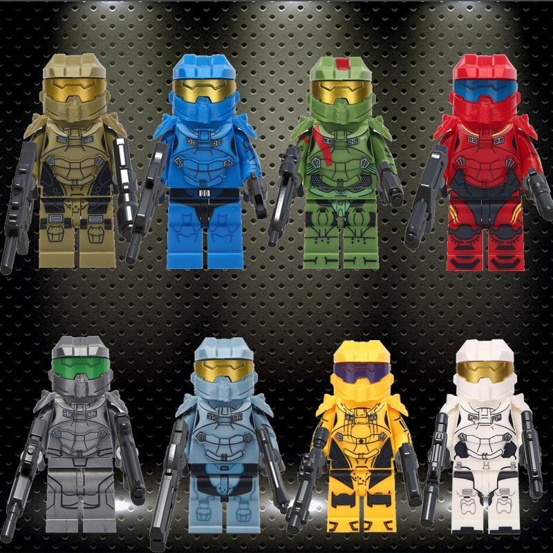 Ed Halo Spartan Solider With Weapon TPS Shooter Game Character Jonesy Dark Voyar Building Blocks  Children Toys Gifts MG0131