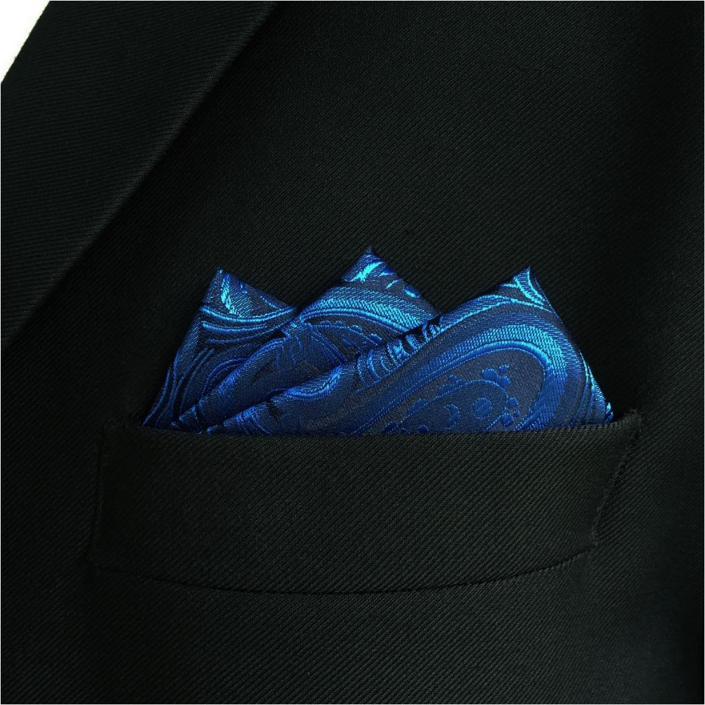EH07 Mens Pocket Square Blue Paisley Fashion Handkerchief Classic Dress Hanky Groom