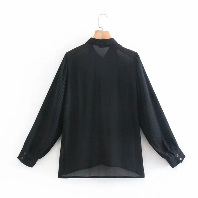 Spring Women Cascading Ruffle Black Chiffon Shirt Female Long Sleeve Blouse Office Lady Loose Tops Blusas S8638 2