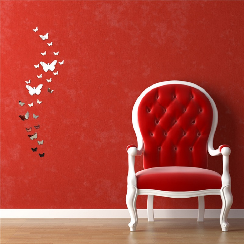 12pcs 3D Mirrors Butterfly Wall Stickers Decal Wall Art Removable Room  Party Wedding Decor Home Deco Wall Sticker for Kids Room 2
