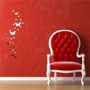Image 3 - 12 Pcs 3D Spiegels Vlinder Muurstickers Decal Muur Art Verwisselbare Kamer Party Wedding Decor Home Deco Muursticker Voor kinderkamer