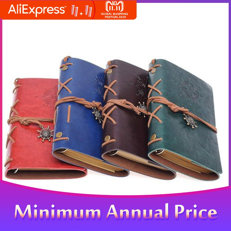 Retro Spiral Notebook Diary Notepad Vintage Pirate Anchors PU Leather Note Book For Traveler Journal R20