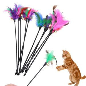 Funny 60CM Cat Toy Kitten Teaser Stick With Small Bell Feathers Pet Playing Rod Puppy Wire Chaser Wand Products Random Color(China)