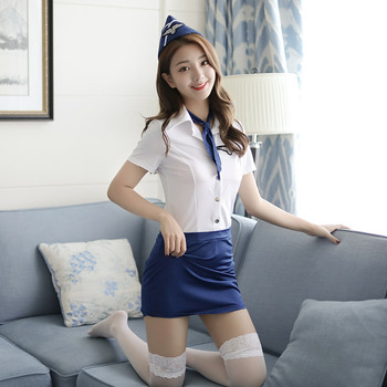Sexy Adult Stewardess Uniform Pilot Costume Erotic Lingerie Temptation Club Sex Pilot Costumes Women Flight Attendant Uniform image