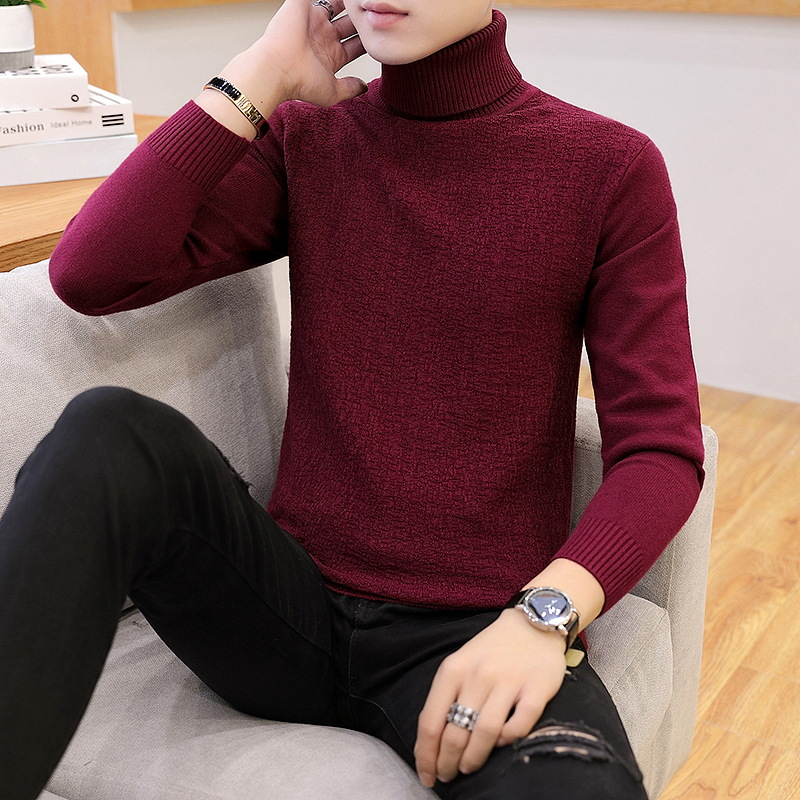 Casual Mens Sweaters White Gray Black Wine Red Mens Turtleneck Body Type High Collar Sleeve Long Sleeve Winter Sweater Men